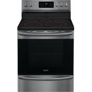 "Frigidaire GCRE3038AD 30"" Gallery Series Black Stainless Steel Freestanding Electric Range with 5.4 cu. ft. Capacity  5 Elements  Steam Clean  Quick Bake"