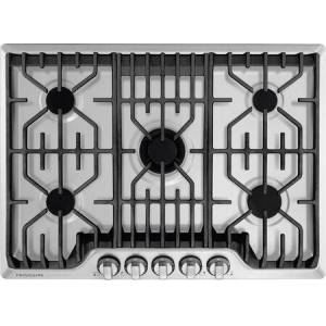 """Frigidaire Professional FPGC3077RS 30"""" Gas Cooktop with Griddle  18 200 BTU PowerPlus Burner  Durable  Continuous Grates  PrecisionPro Controls in Stainless"""