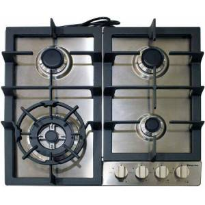 """Magic Chef MCSCTG24S 24"""" Gas Cooktop with 4 Sealed Burners  Metal Control Knobs  Cast Iron Grates and Electronic Ignition in Stainless"""