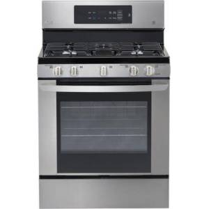 """LG LRG3061ST 30"""" Gas Single Oven Range with 5.4 cu. ft. Capacity  5 Burners  EasyClean  Delay Bake  and Griddle: Stainless"""