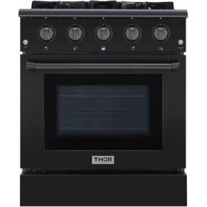 """Thor HRG3080-BS 30"""" Freestanding Gas Range with 4.2 cu. ft. Oven  4 Burners  Commercial Convection Fan  Cast Iron Flat Cooking Grates and Black Porcelain"""