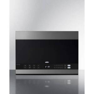 """Summit MHOTR243SS 24"""" Over the Range Microwave with 1.4 cu. ft. Capacity  Turntable  LED Lighting  Auto Cook  Timed Cook  Multi-Stage Cooking  10 Power"""