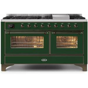 """Ilve UM15FDNS3EGB 60"""" Majestic II Series Dual Fuel Natural Gas Range with 9 Sealed Burners amd Griddle  5.8 cu. ft. Total Oven Capacity  TFT Oven Control"""