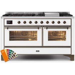"""Ilve UM15FDNS3RALB 60"""" Majestic II Series Dual Fuel Natural Gas Range with 9 Sealed Burners amd Griddle  5.8 cu. ft. Total Oven Capacity  TFT Oven Control"""