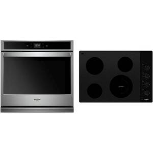 """Whirlpool 2 Piece Kitchen Appliances Package with WOS51EC0HS 30"""" Electric Single Wall Oven and WCE55US0HB 30"""" Electric Cooktop in Stainless"""