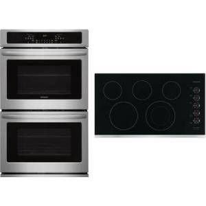 """Frigidaire 2 Piece Kitchen Appliances Package with FFET3026TS 30"""" Electric Double Wall Oven and FFEC3625US 36"""" Electric Cooktop in Stainless"""