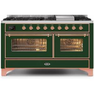"""Ilve UM15FDNS3EGP 60"""" Majestic II Series Dual Fuel Natural Gas Range with 9 Sealed Burners amd Griddle  5.8 cu. ft. Total Oven Capacity  TFT Oven Control"""