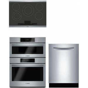 """Bosch 3-Piece Kitchen Appliances Package with NETP068SUC 31"""" Smooth Cooktop  HBLP752UC 30"""" Double Wall Oven and SHP87PW55N 24"""" Fully Integrated Dishwasher"""