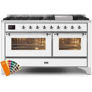 """Ilve UM15FDNS3RALC 60"""" Majestic II Series Dual Fuel Natural Gas Range with 9 Sealed Burners amd Griddle  5.8 cu. ft. Total Oven Capacity  TFT Oven Control"""