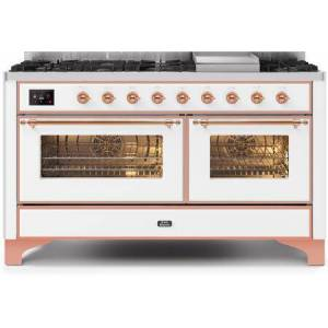 """Ilve UM15FDNS3WHP 60"""" Majestic II Series Dual Fuel Natural Gas Range with 9 Sealed Burners amd Griddle  5.8 cu. ft. Total Oven Capacity  TFT Oven Control"""