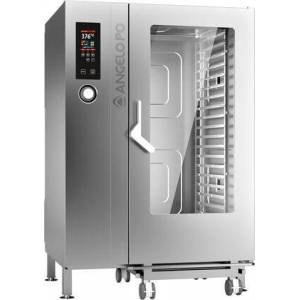"""Angelo Po FX202G3 47"""" Gas Combi Oven with 507 lb. Capacity  ECO Function  Stainless Steel Construction  and Automatic Washing  in Stainless"""