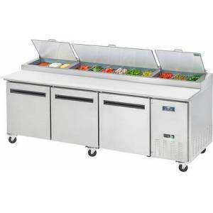 """Arctic APP94R 95"""" Pizza Prep Table with Electronic Thermostat  Locking Caster  32 cu. ft. Capacity and 3/4 HP in Stainless"""