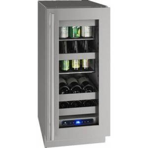 """U-Line UHBV515-SG01A 5 Class 15"""" Beverage Center with 2.9 cu. ft. Capacity  Two Removable Full-Extension Wine Racks  LED Lighting and Soft Close Door in"""