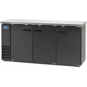 """ABB72 73"""" Back Bar Refrigerator with Electronic Thermostat  Solid Foamed Stainless Steel Top  LED Lighting and Magnetic Gaskets in"""