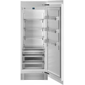 """Bertazzoni REF30RCPRR 30"""" Built In Column Refrigerator with 17.44 cu. ft. Capacity  White Aluminum Interior  Intuitive Digital Touch Controls  Left and Swing"""