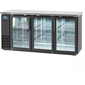 """ABB72G 73"""" Glass Door Back Bar Refrigerator with Electronic Thermostat  Solid Foamed Stainless Steel Top  LED Lighting and Magnetic Gaskets in"""