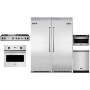"""Viking 6 Piece Kitchen Appliance Package with 30"""" Left hinge Column Refrigerator  30"""" Right Hinge Column Freezer  48"""" Gas Cooktop  30"""" Electric Single Wall"""