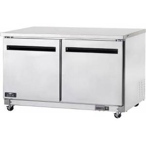 """AUC60R 60"""" Two Door Undercounter Worktop Refrigerator with 2 Shelves  15.5 cu. ft. Capacity  3/8 HP  Electronic Thermostat  in Stainless"""