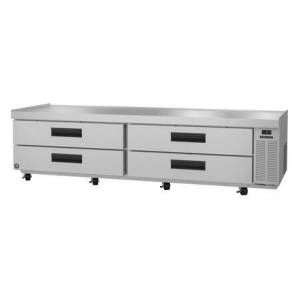 """Hoshizaki CR98A 98"""" Two Section Refrigerator Chef Base Prep Table with 4 Drawers  Stainless Steel Construction  and 4"""" Casters  in Stainless"""