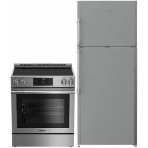 """Blomberg 2 Piece Kitchen Appliances Package With BERU30420SS 30"""" Electric Freestanding Range and BRFT1522SS 28"""" Freestanding Top Freezer Refrigerator In"""