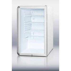 """Summit SCR450L7SH 20""""  Commercially Listed Compact Refrigerator With 4.1 cu. ft. Capacity  Glass Door  Factory Installed Lock  Automatic Defrost  Hospital"""