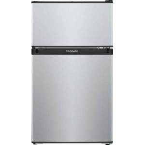 """Frigidaire FFPS3133UM 19"""" Compact Refrigerator with 3.1 cu. ft. Capacity  Clear Crisper Drawer  Full Width Freezer and Can Holders in Silver"""