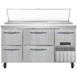"""Continental Refrigerator PA60N-D 60"""" Pizza Preparation Refrigerator with 19 cu. ft. Capacity  Drawers and Half Door  2"""" Non-CFC Polyurethane Foam Insulation and Off-Cycle"""