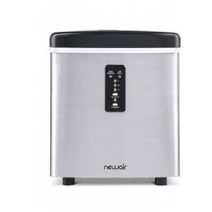 NewAir AI100SS Portable Ice Maker with 28 Lbs. Daily Ice Making Capacity  Removable Ice Bin  Ice Storage  Automatic Overflow Protection  LED Display and Ice