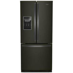"""Whirlpool WRF560SEHV 30"""" French Door Refrigerator with 20 cu. ft. Total Capacity  Energy Star Certified  External Water Dispenser  in Black Stainless"""