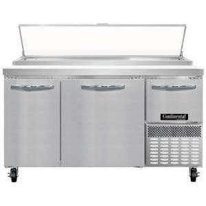 """Continental Refrigerator PA60N 60"""" Pizza Preparation Refrigerator with 19 cu. ft. Capacity  2"""" Non-CFC Polyurethane Foam Insulation and Off-Cycle Defrost in Stainless"""