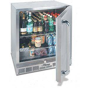 """Alfresco URS1XE 28"""" Single Door Refrigerator with 7.25 cu. ft. Capacity  Two Stainless Steel Wire Shelves and Field-Reversible Door in Stainless"""