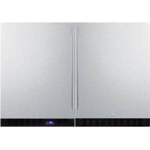 Summit Stainless Steel Compact Refrigerator/Freezer Pair with FF64BSS Compact Refrigerator and SCFF53BSS Compact