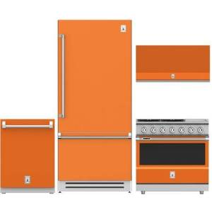 """Hestan 4-Piece Kitchen Appliances Package with KRBR36OR 36"""" Built-in Bottom Freezer Refrigerator  KDW24OR 24"""" Fully Integrated Dishwasher  KDW24OR 36"""" Wall"""