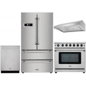 "Thor 4-Piece Kitchen Appliances Package with HRF3601F 36"" French Door Refrigerator  LRG3601U 36"" Freestanding Gas Range  HDW2401SS 24"" Fully Integrated"