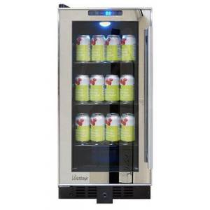 "Vinotemp VTBC32TSSML 15"" Mirrored Trim Beverage Cooler with Dyanmic/Silent Mode  Dual-paned Glass Door  Digital Temperature Control Display  in"