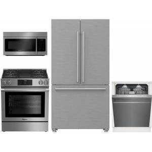 """Blomberg 4 Piece Kitchen Appliances Package with BRFD2230SS 36"""" French Door Refrigerator  BGR30420SS 30"""" Slide-in Gas Range  BOTR30200CSS 30"""" Over the Range"""