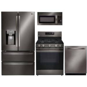 """LG 4-Piece Kitchen Appliances Package with LMXS28626D 36"""" French Door Refrigerator  LRG3061BD 30"""" Gas Range  LMV1831BD 30"""" Over the Range Microwave and"""
