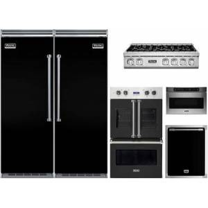 """Viking 6 Piece Kitchen Appliance Package with 30"""" Left Hinge Column Refrigerator  30"""" Right Hinge Column Freezer  36"""" Gas Cooktop  30"""" Electric Double Wall"""
