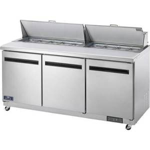 """AMT72R 72"""" Mega-Top Sandwich/Salad Prep Table with Heavy-Duty Cutting Board  Plastic Pans  Electronic Thermostat and Locking Casters in Stainless"""