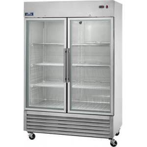 """Arctic AGR49 54"""" Reach In Refrigerator with 6 Shelves  2 Doors  49 cu. ft. Capacity  1/2 HP  Glass Door  in Stainless"""