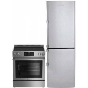 """Blomberg 2 Piece Apartment Size Kitchen Appliances Package With BERU30420SS 30"""" Electric Freestanding Range and BRFB1312SS 24"""" Bottom freezer Refrigerator In"""