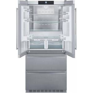 """Liebherr CBS2082N 36"""" Stainless Steel Unbranded French Door Refrigerator with 18.9 cu. ft. Capacity  Energy Star  BioFresh  DuoCooling  SuperCool and"""
