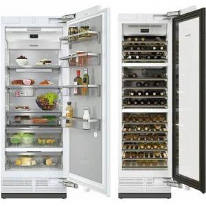 """Miele MasterCool II Series Column Set with K2801SF 30"""" Smart Built In Counter Depth Right Hinge Refrigerator and KWT2601SF 24"""" Smart Built-In Triple Zone"""