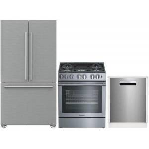 """3 Piece Kitchen Appliances Package with BRFD2230SS 36"""" French Door Refrigerator  BGR30522SS 30"""" Slide-in Gas Range and DWT81800SSIH 24"""" Built In"""