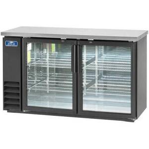"""ABB60G 61"""" Glass Door Back Bar Refrigerator with Electronic Thermostat  Solid Foamed Stainless Steel Top  LED Lighting and Magnetic Gaskets in"""