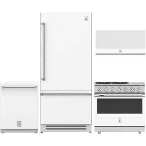 """Hestan 4-Piece Kitchen Appliances Package with KRBR36WH 36"""" Built-in Bottom Freezer Refrigerator  KDW24WH 24"""" Fully Integrated Dishwasher  KVP36WH 36"""" Wall"""