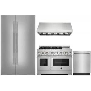 """Jenn-Air 4 Piece Kitchen Appliances Package with JS48NXFXDE 48"""" Side by Side Refrigerator  JGRP548HL 48"""" Gas Range  JXW9048HP 48"""" Wall Mount Ducted Hood and"""