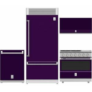 "Hestan 4-Piece Kitchen Appliances Package with KRPR36PP 36"" Built-in Bottom Freezer Refrigerator  KDW24PP 24"" Fully Integrated Dishwasher  KVP36PP 36"" Wall"