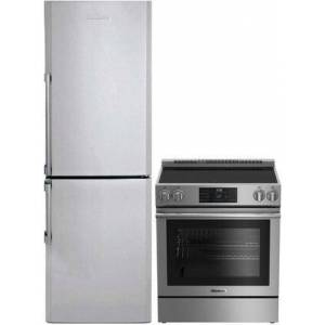 """Blomberg 2 Piece Apartment Size Kitchen Appliances Package With BERU30420SS 30"""" Electric Freestanding Range and BRFB1322SS 24"""" Bottom Freezer Refrigerator In"""
