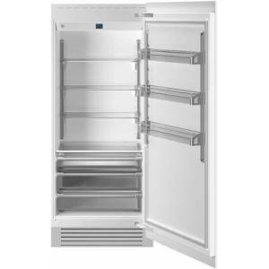 """Bertazzoni REF36RCPRR 36"""" Built In Column Refrigerator with 21.54 cu. ft. Capacity  White Aluminum Interior  Intuitive Digital Touch Controls  Left and Swing"""